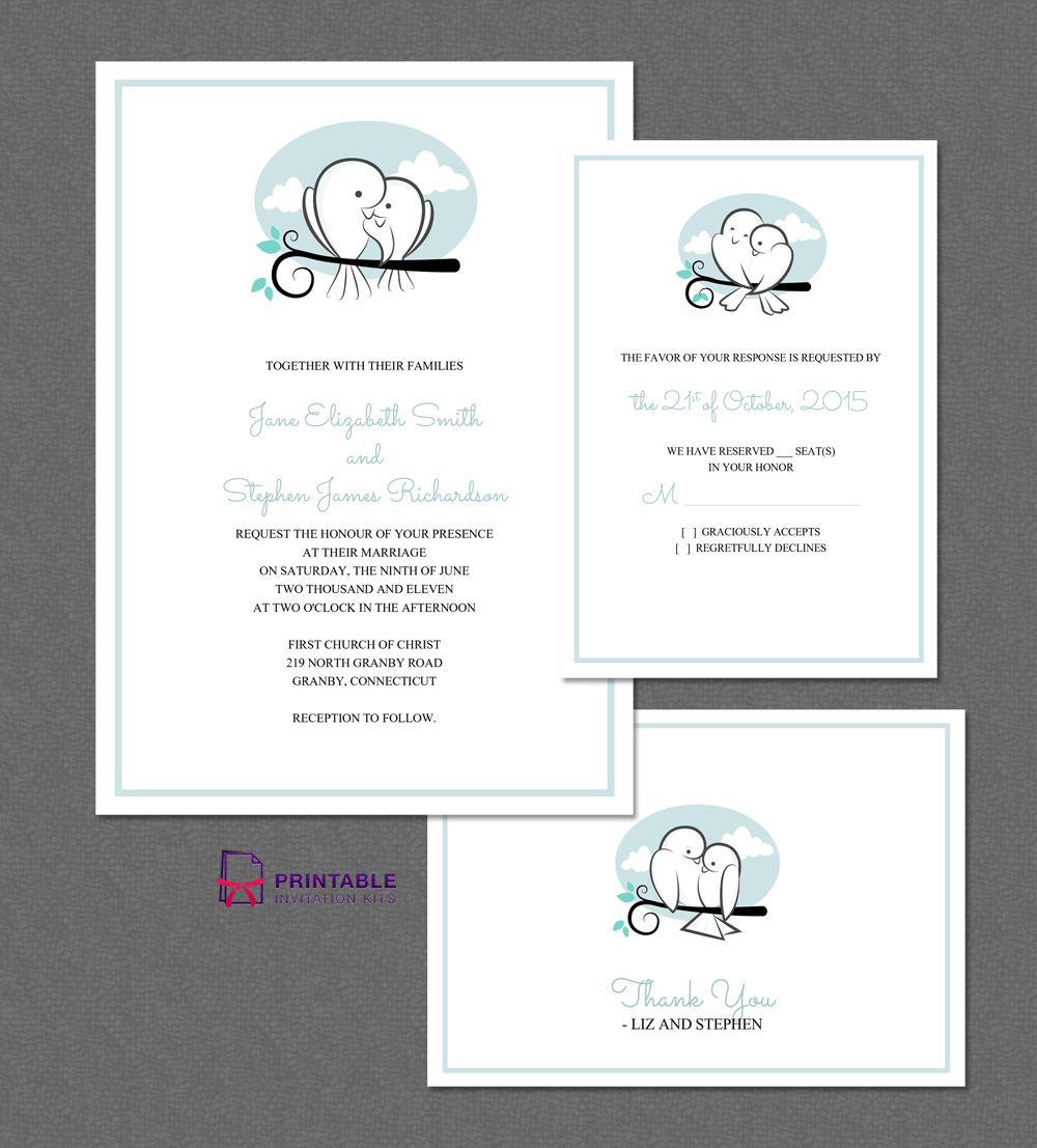 Wedding invitation templates with cute love birds.