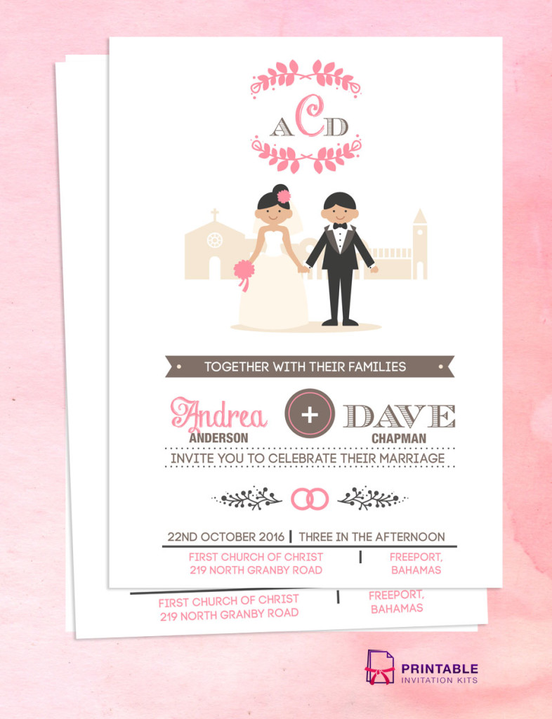 Illustrated couple in front of church wedding invitation template.