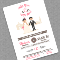 Couple Cartoon wedding invitation