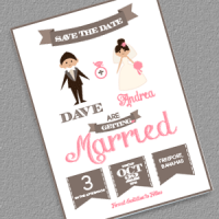 save the date cartoon couple wedding invitation templates