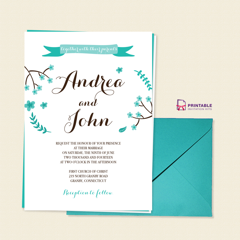 Calligraphy-based invite with floral accents