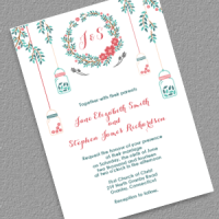 Floral Wreath and Mason Jar Invitation