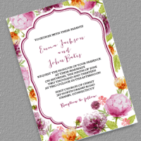 Watercolor Wedding Flowers Invitation Template