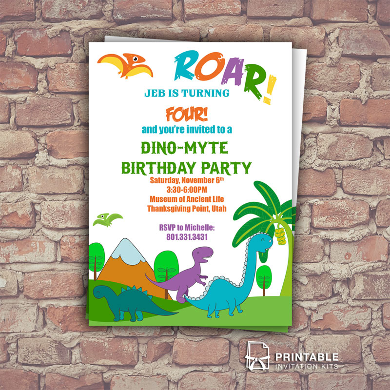Dinosaurs birthday invitation template