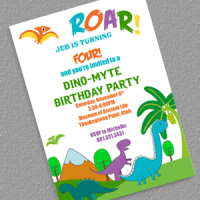 Dinosaurs birthday party invitation template