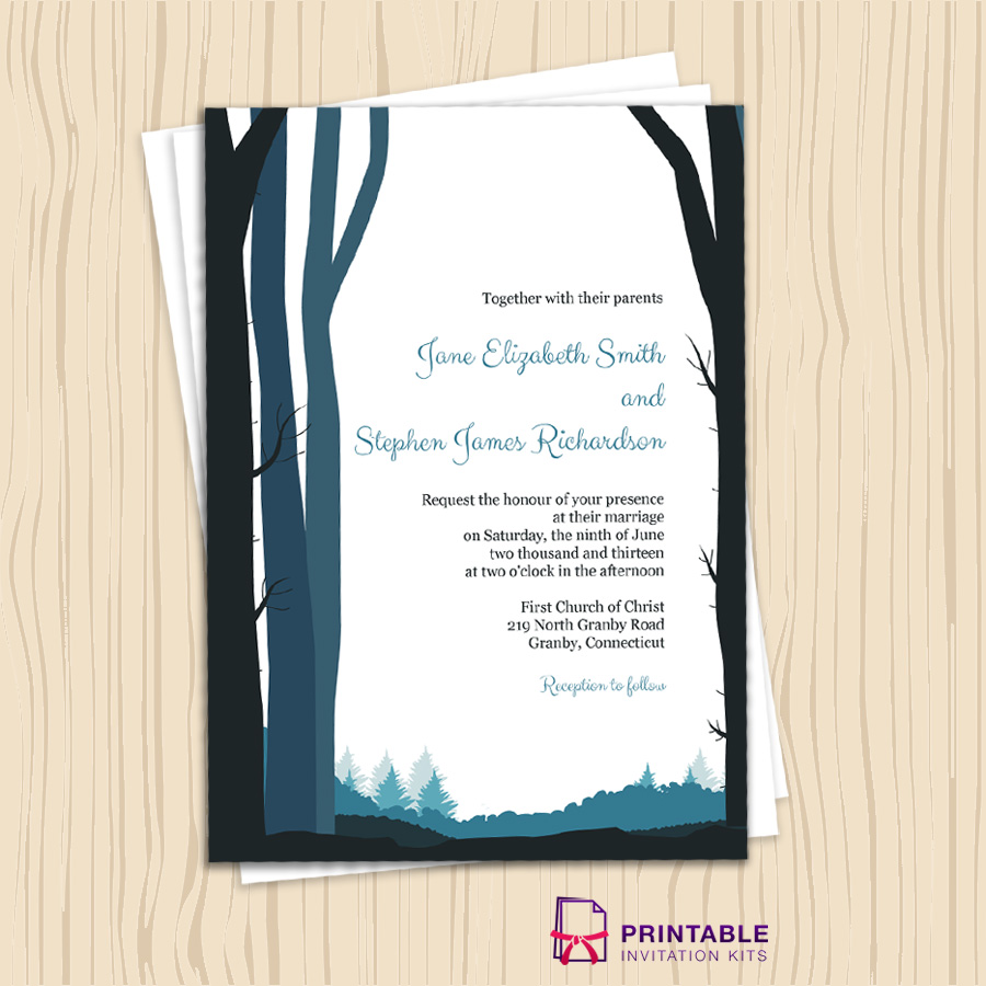 Rustic wedding invitation for fall and winter weddings