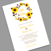 Sunflower Wreath Wedding Invitation Feature
