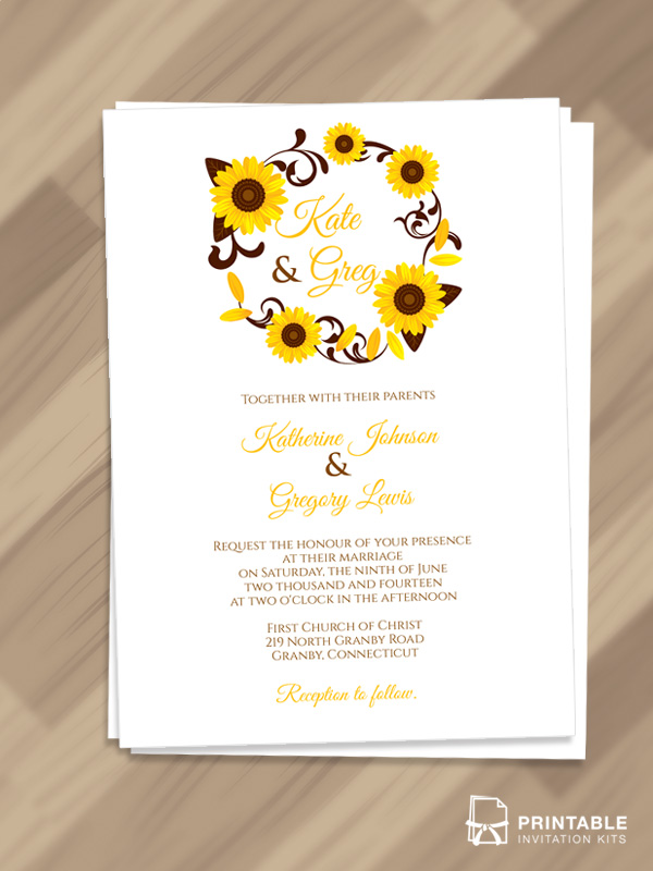 Wedding invitation template with sunflowers.