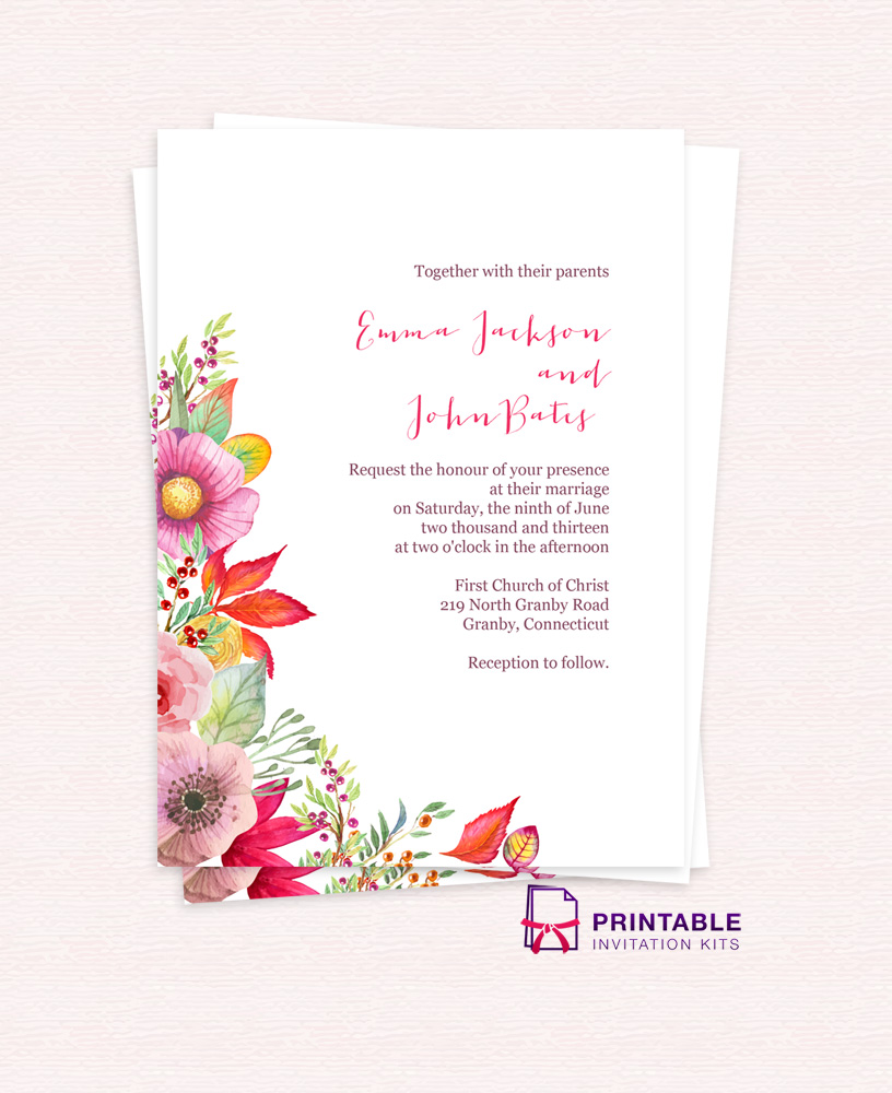 Autumn Blooms Wedding Invitation ← Wedding Invitation Templates ...