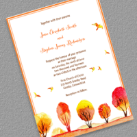 Watercolor Autumn Wedding Invitation Template