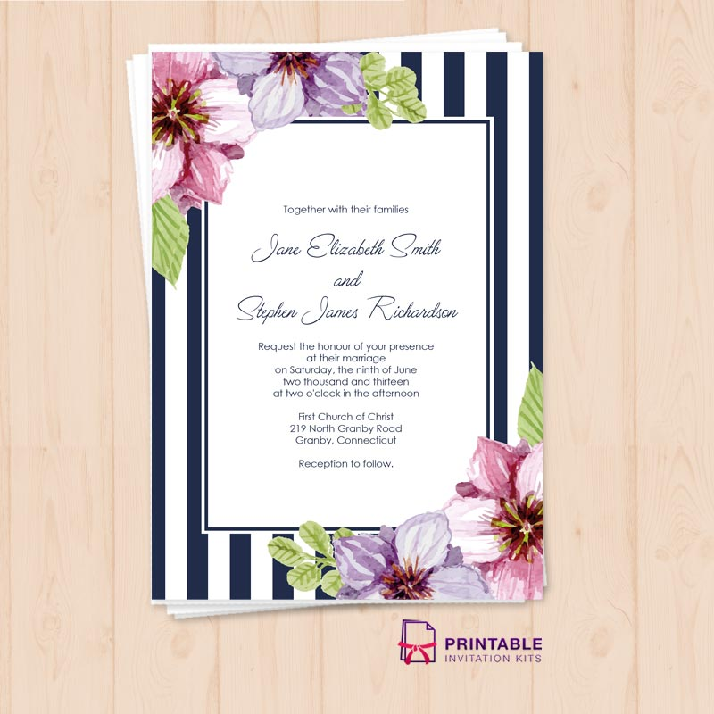 Retro Stripes Floral Wedding Invitation Template Wedding