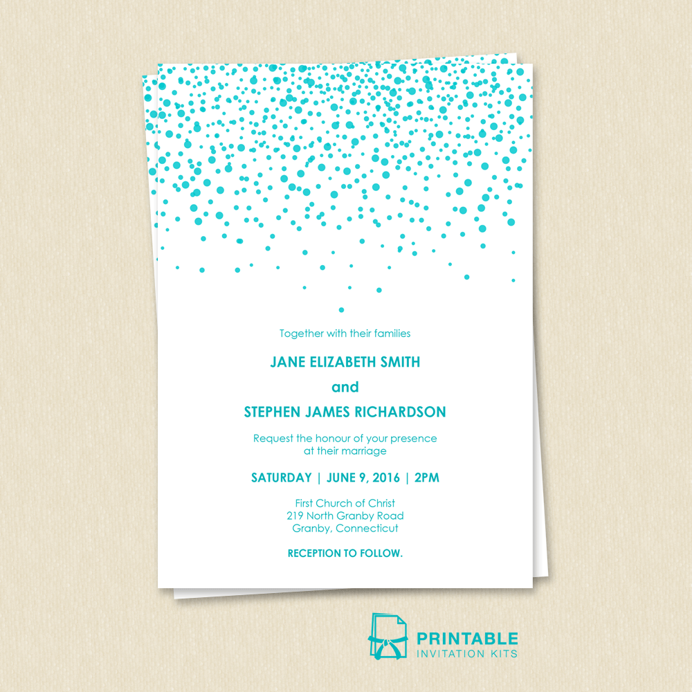 Modern Wedding Invitation with sprinkles