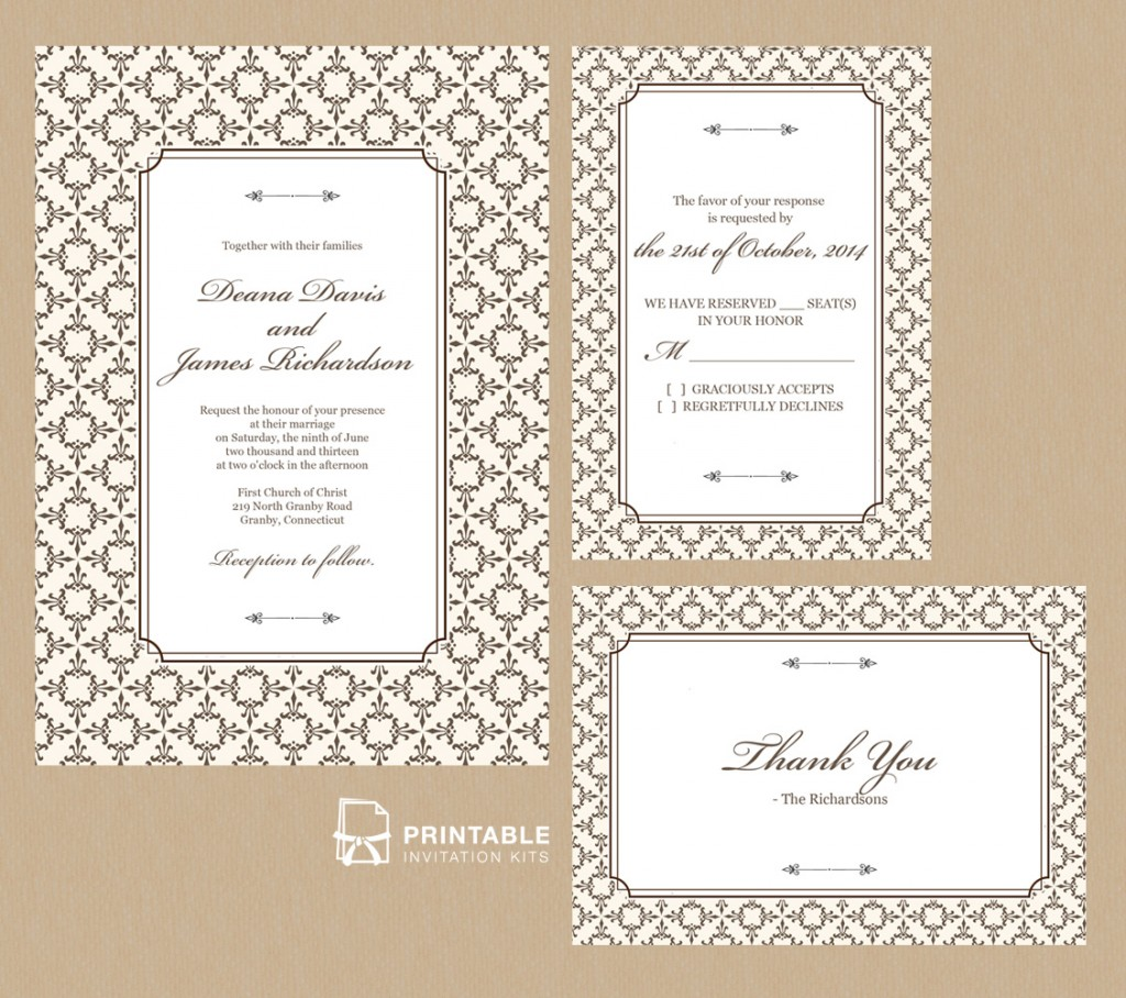 Classic Invitation set with stately frame and damask background.