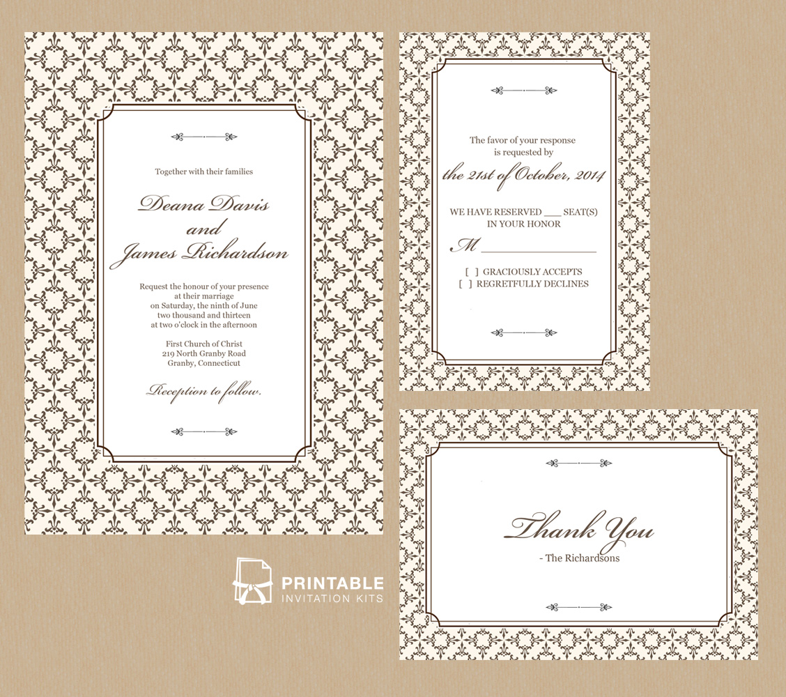 photograph relating to Printable Invitation Kits referred to as Stately Body Invitation Fixed ← Wedding day Invitation Templates