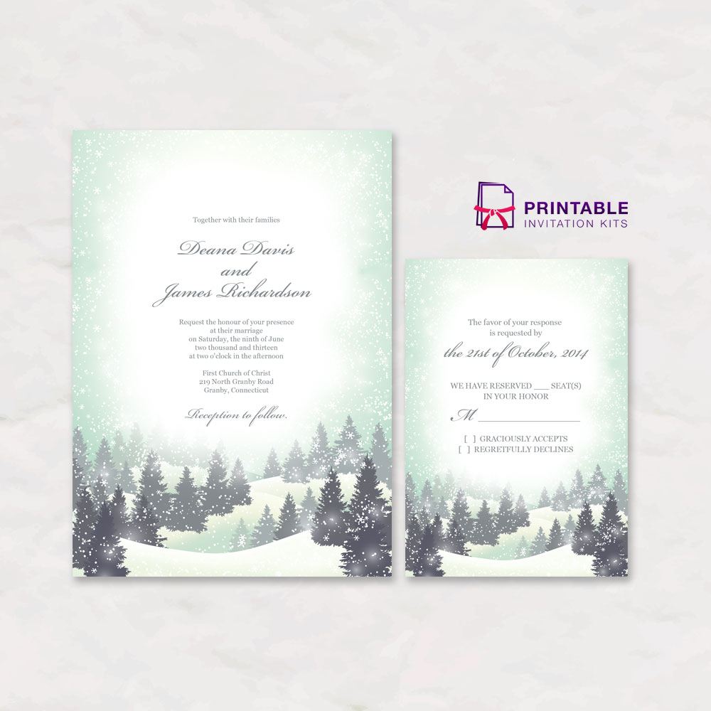 Winter wedding invitation and RSVP templates.