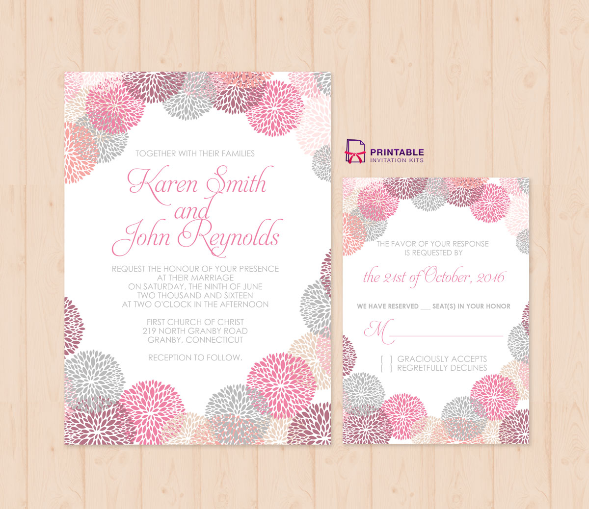 Flower works wedding invitation and rsvp set wedding invitation about this template stopboris Gallery