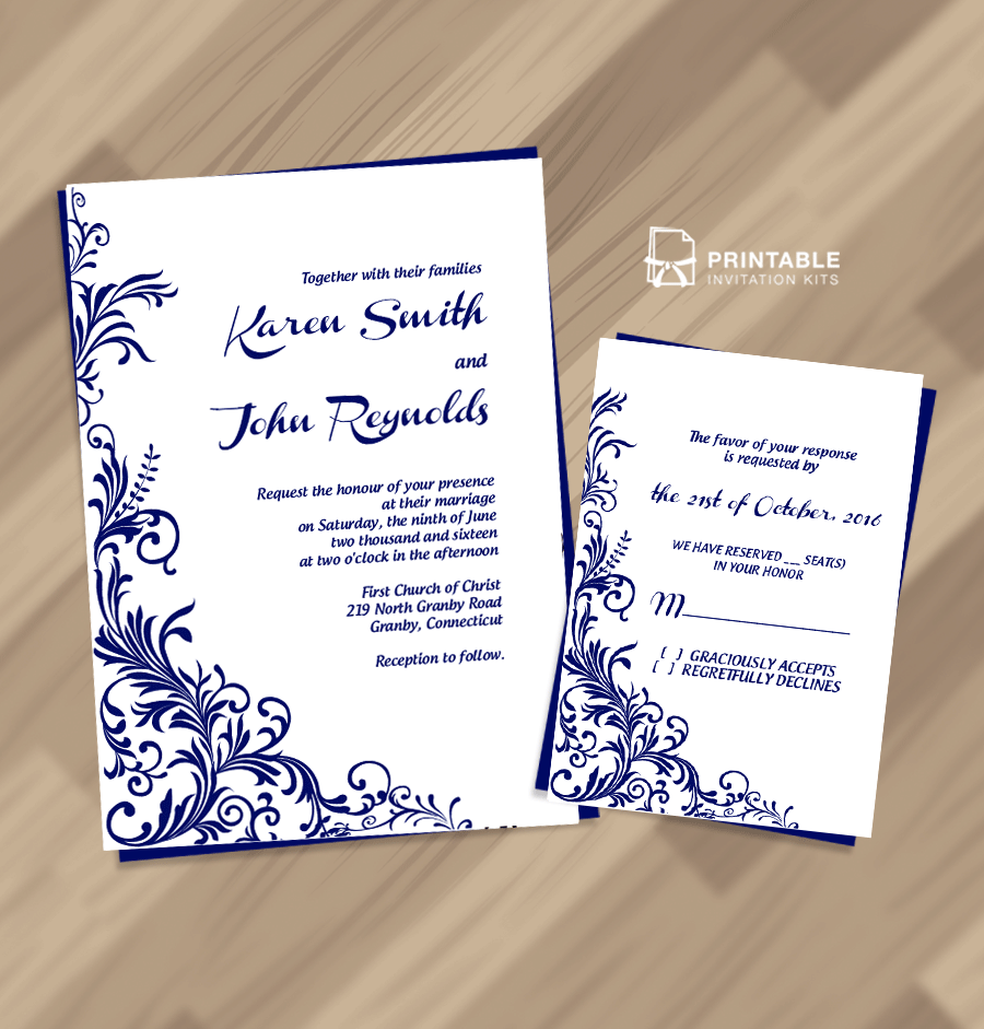 Wedding invitation and RSVP set with foliage border design.
