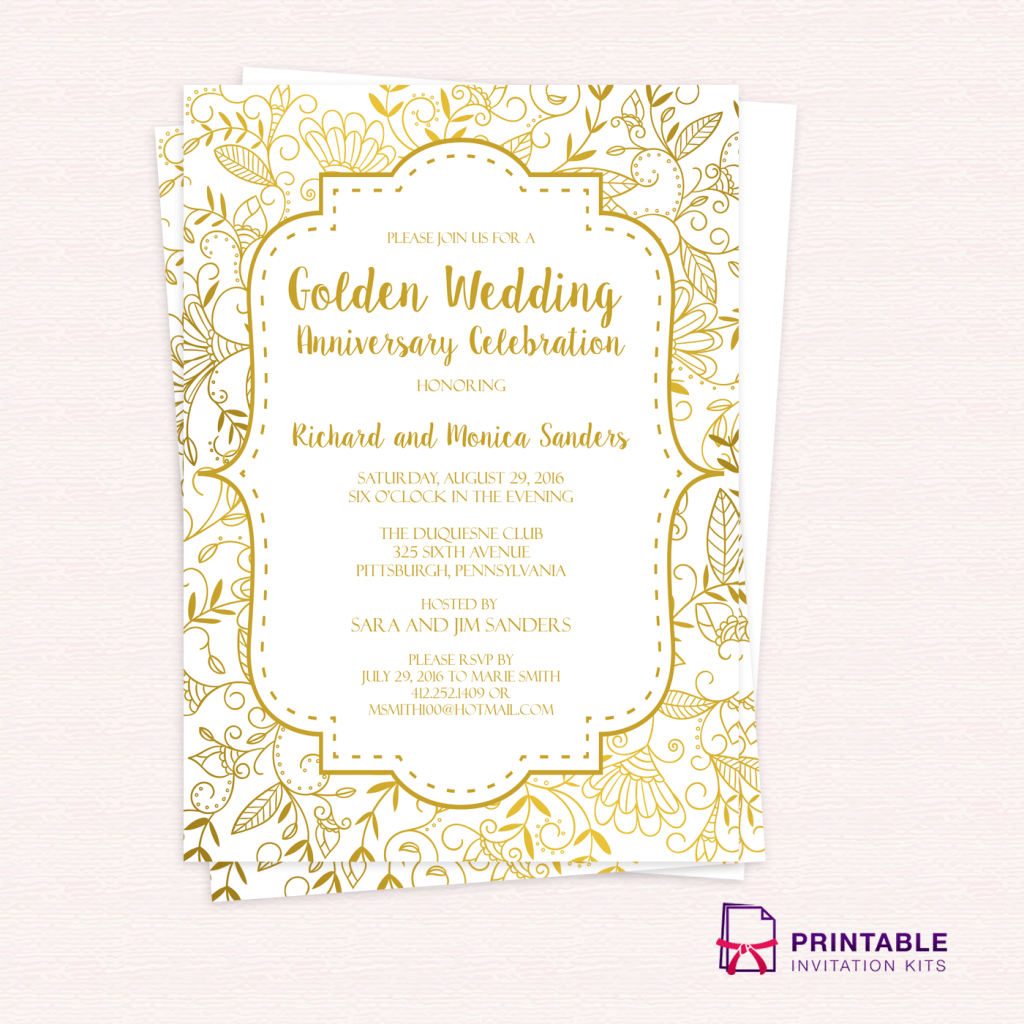 golden wedding anniversary invitation template wedding invitation templates printable. Black Bedroom Furniture Sets. Home Design Ideas