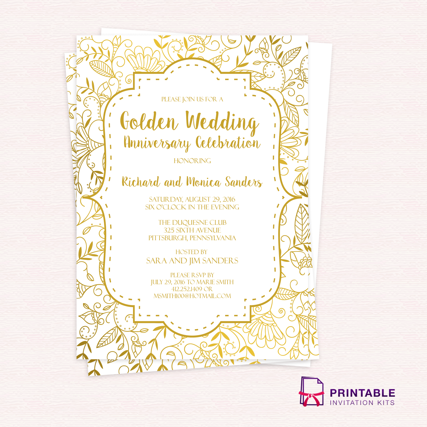 golden wedding anniversary invitation template wedding invitation rh printableinvitationkits com printable anniversary invitations templates making - Make Your Own Anniversary Card