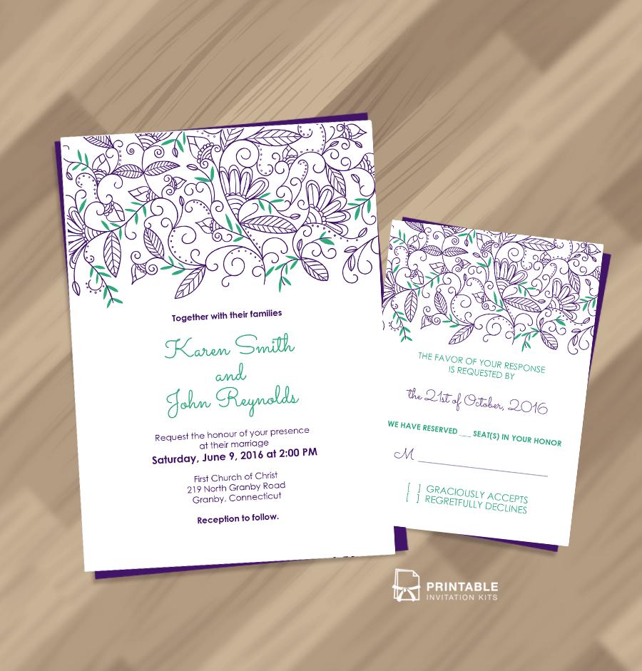 Nature Border Modern Wedding Invitation RSVP