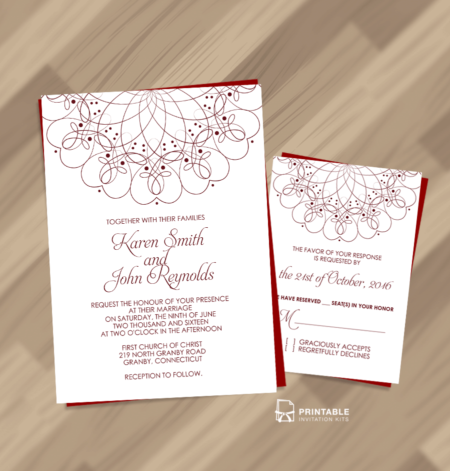 Spiral Ornament Wedding Invitation and RSVP Set