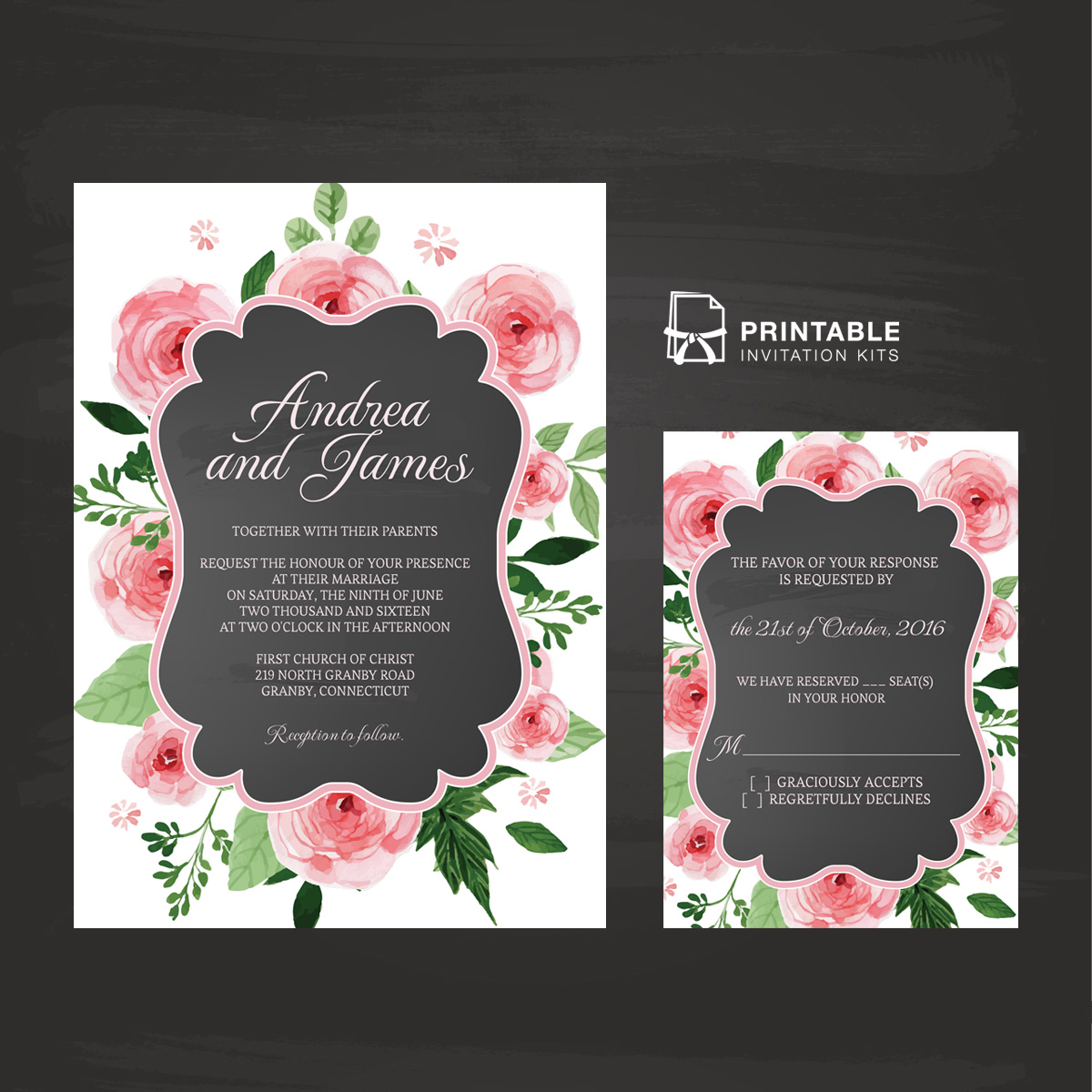 Chalkboard And Rose Frame Invitation And RSVP