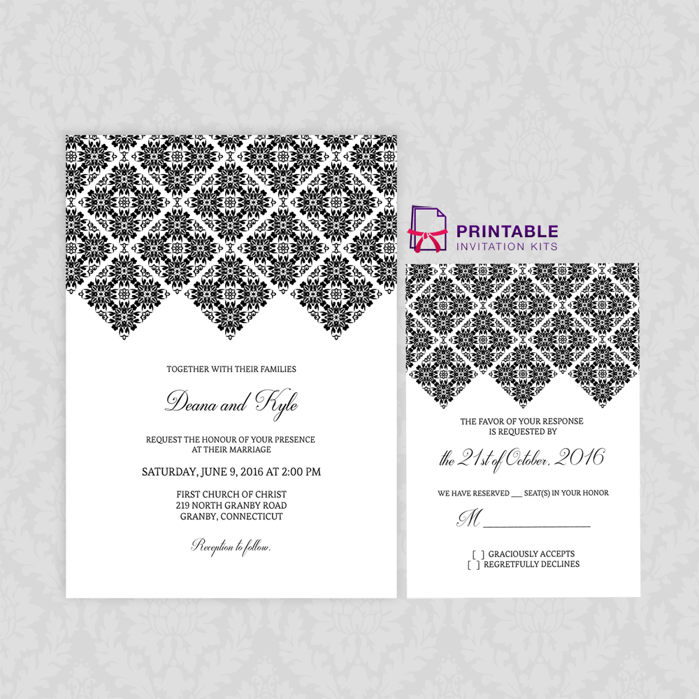 Wedding invitation template with RSVP Diamond border