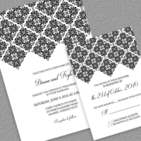 Diamon border wedding invitation set with RSVP