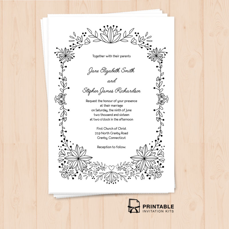 Doodle Foliage Wedding Invitation Template