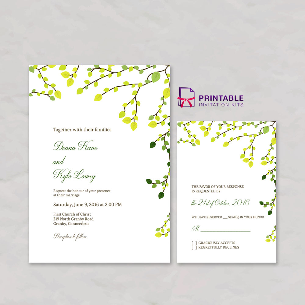 Green Invitation and RSVP Set
