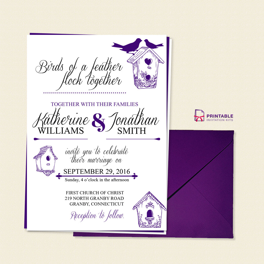 Birds of a feather wedding invitation template wedding for Templates for wedding invitations free to download