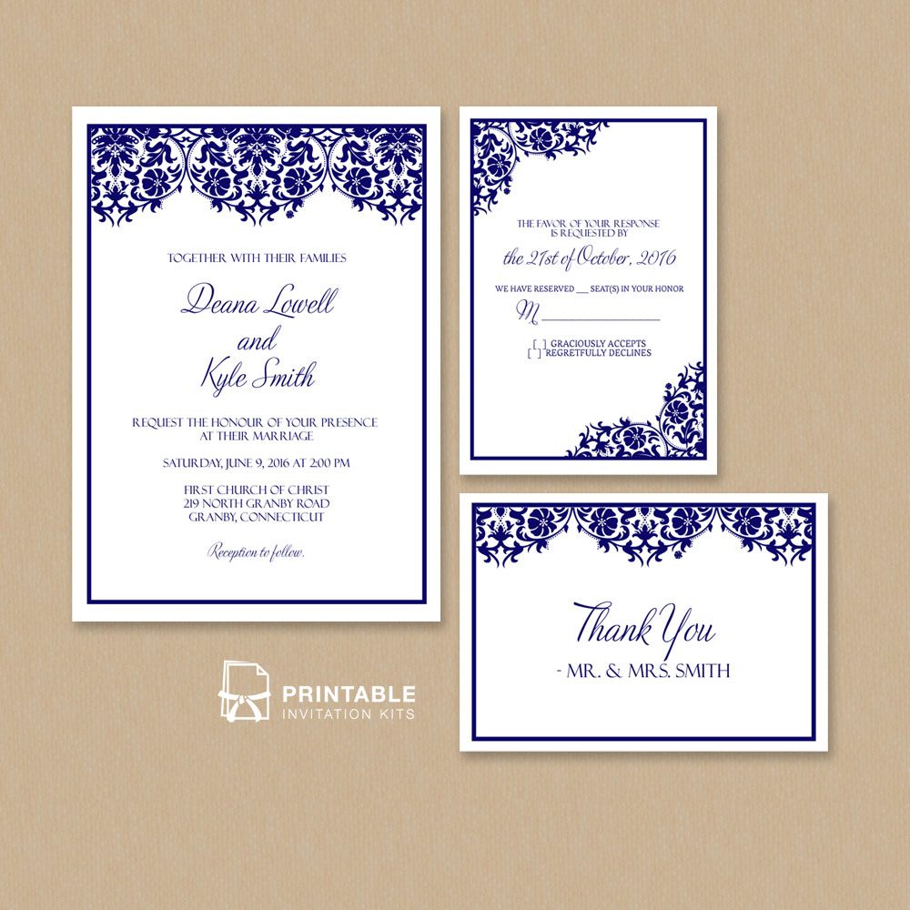 Wedding invitation, RSVP and Thank you invitation templates.