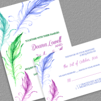 Feathers Wedding Invitation template