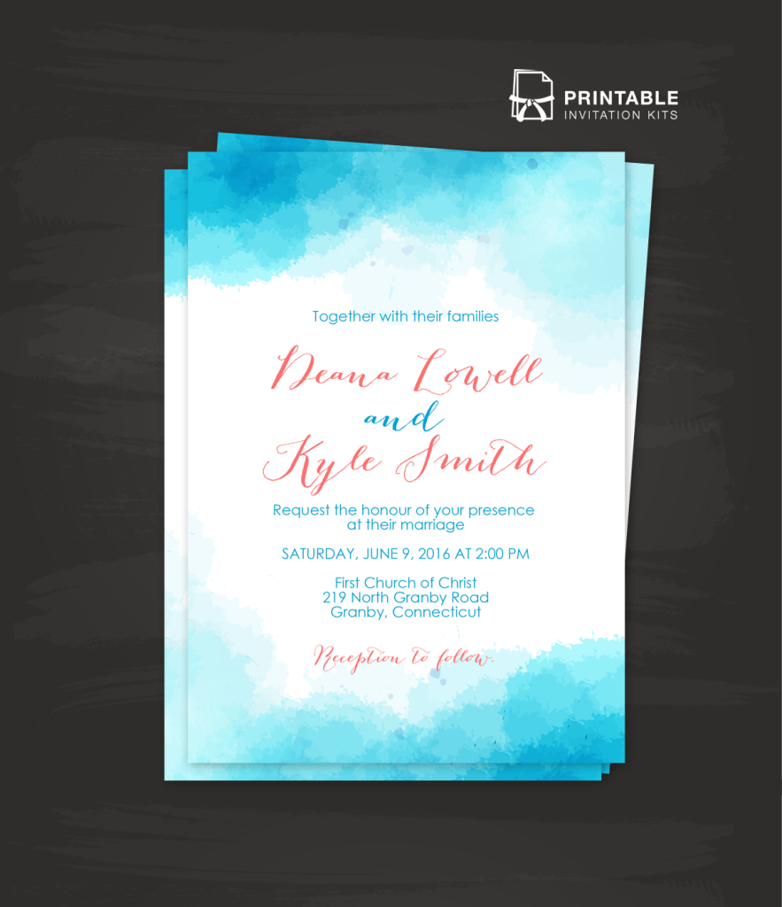 Watercolor wedding invitation template in blue