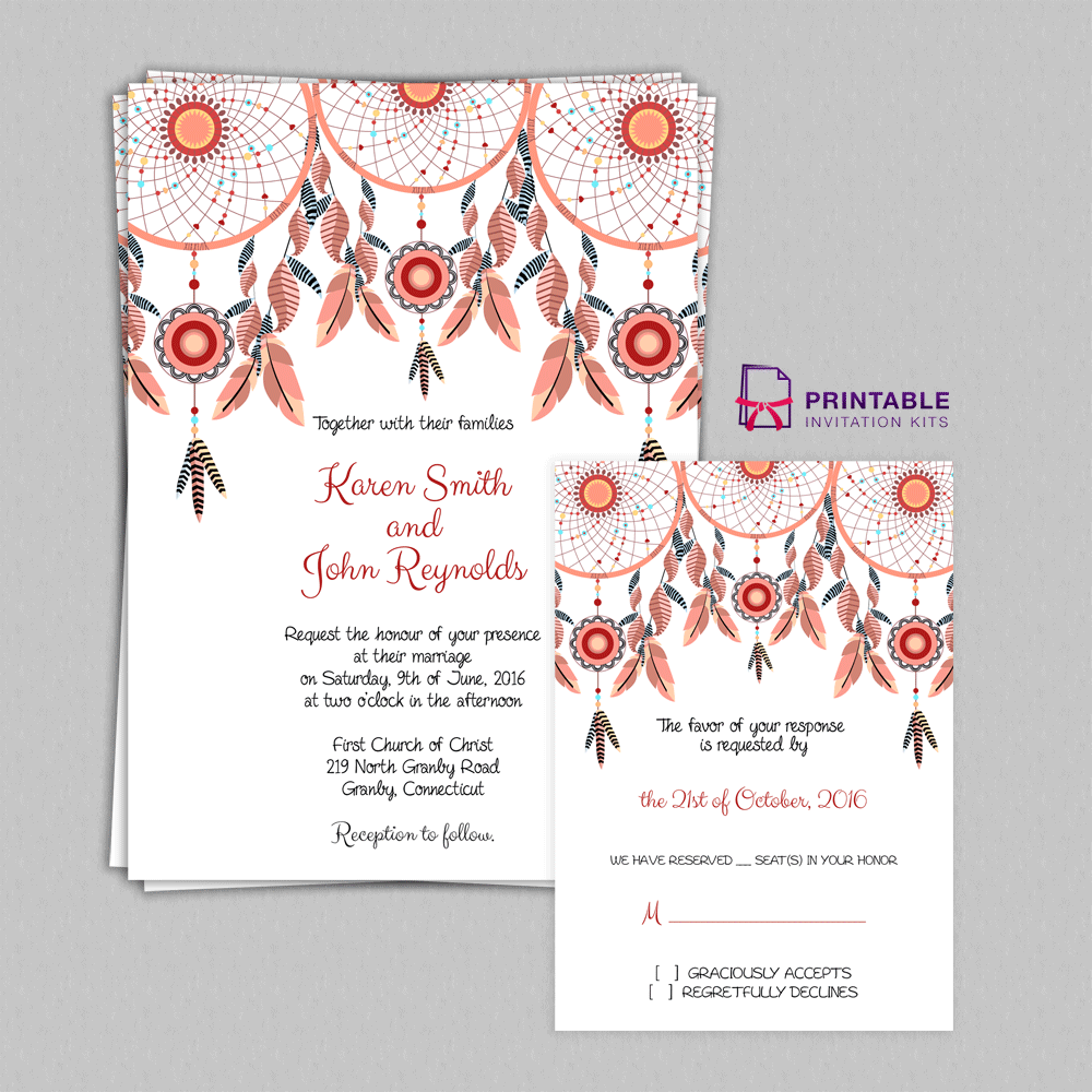 Boho theme dreamcatchers wedding invitation set wedding boho dreamcatchers invitation and rsvp maxwellsz