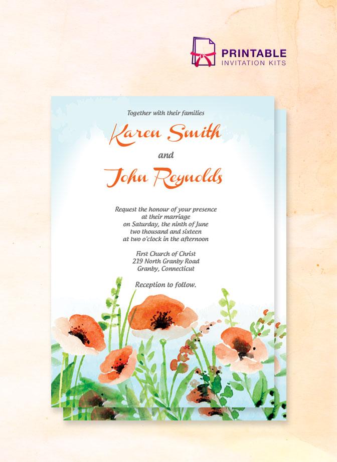 Poppy Garden Wedding Invitation Wedding Invitation Templates Printable In