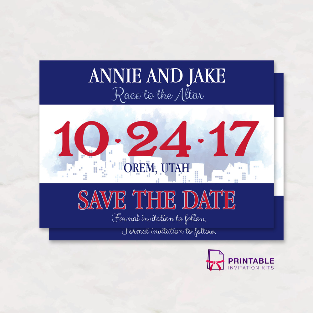 Race Bib Save The Date Wedding Invitation Wedding Invitation