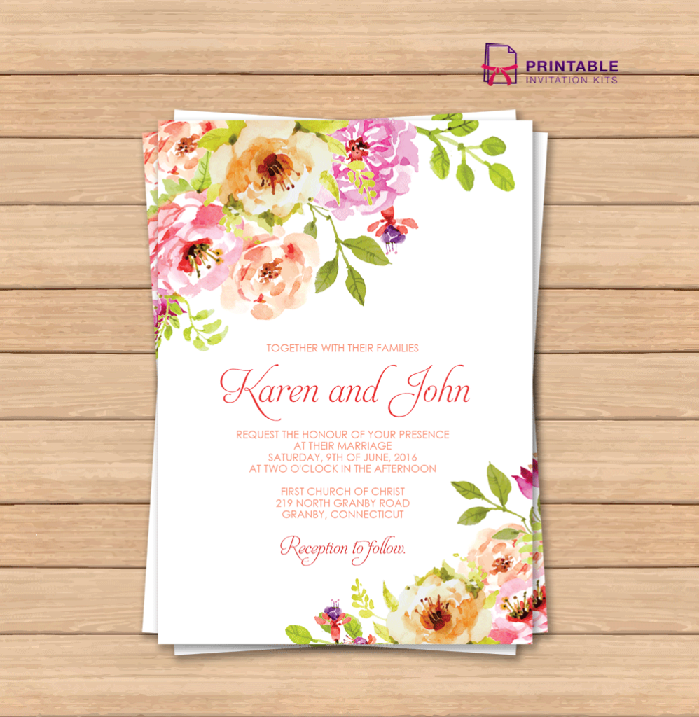 wedding invitation template featuring vintage florals design