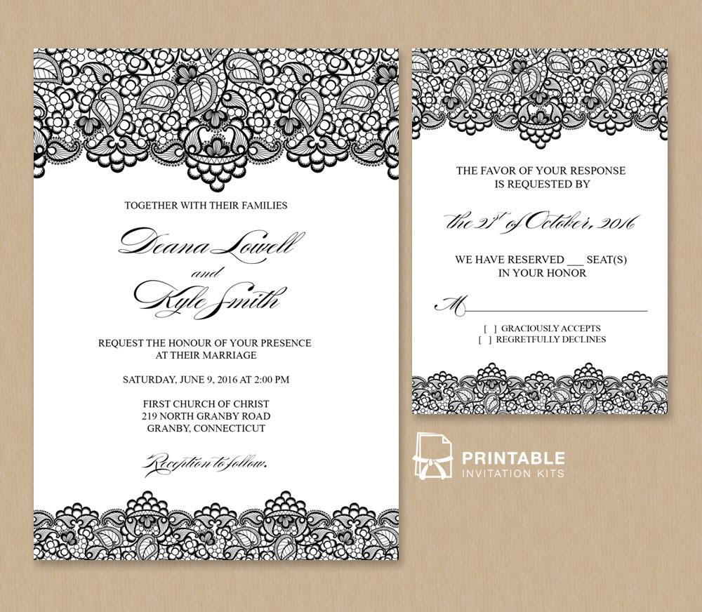 Wedding Invitation Templates: Black Lace Vintage Wedding Invitation And RSVP ← Wedding