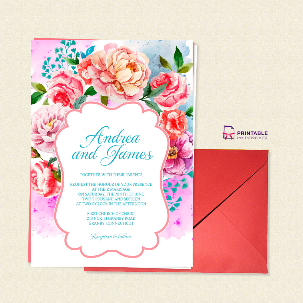 Floral vintage wedding invitation photo