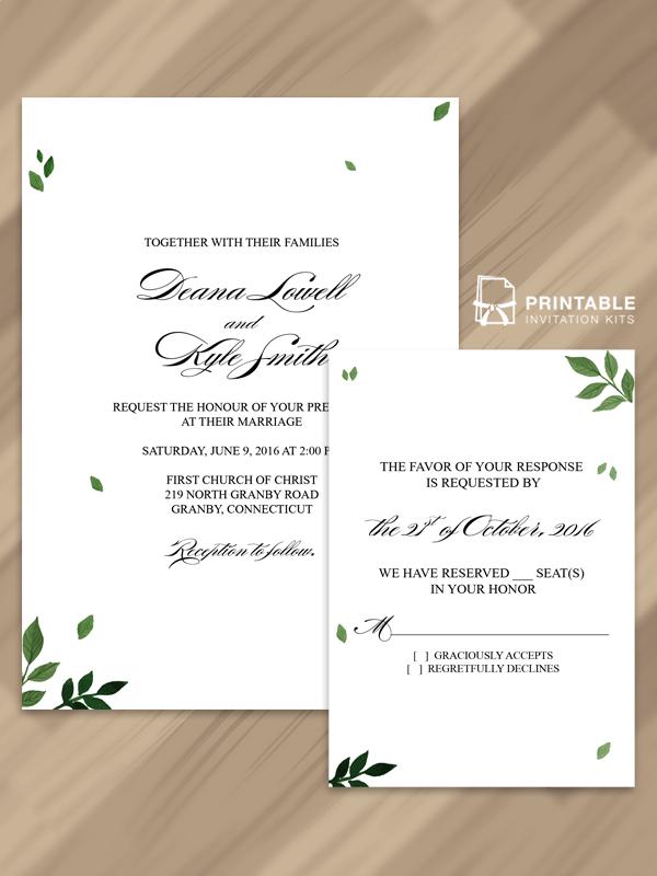Pressed Leaves Invitation And Rsvp Free Pdf Templates Wedding