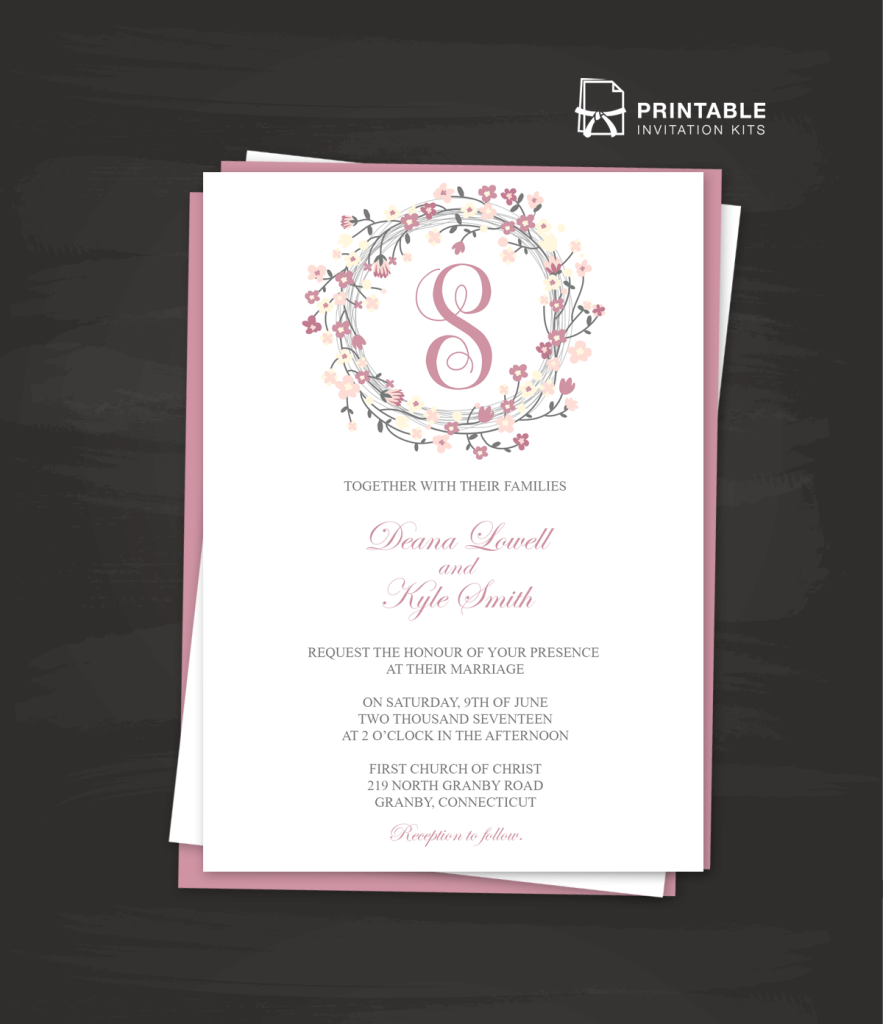 Floral Wreath Logo Wedding Invitation PDF