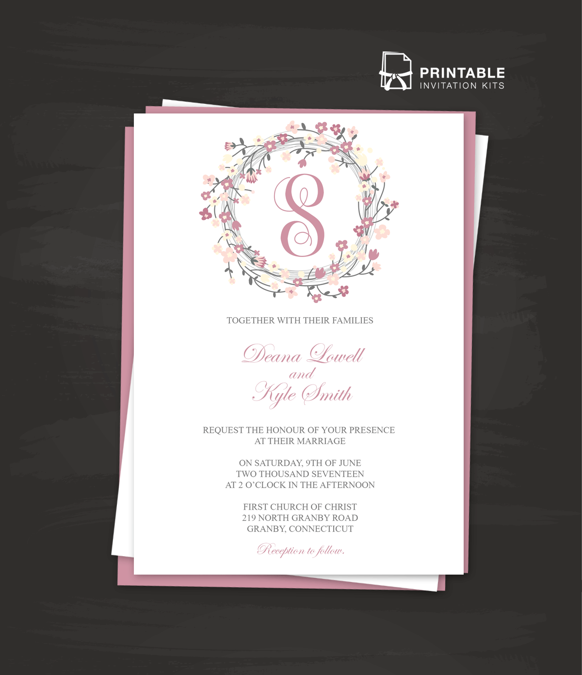 Downloadable Wedding Invitation Templates: Floral Wreath Logo Invitation Template ← Wedding