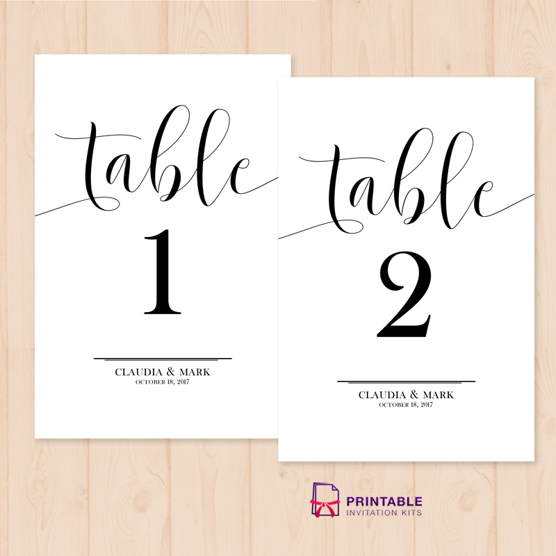 Table numbers printable pdf template wedding invitation for Table numbers for wedding reception templates