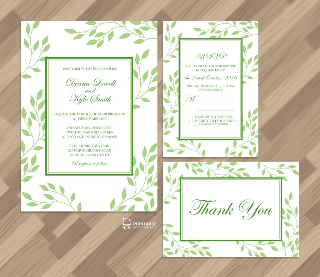 Foliage Leaves 2017 wedding invites