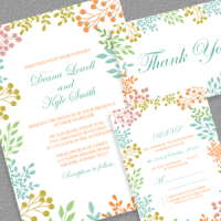 Spring Leaves 2017 PDF Invitation Templates