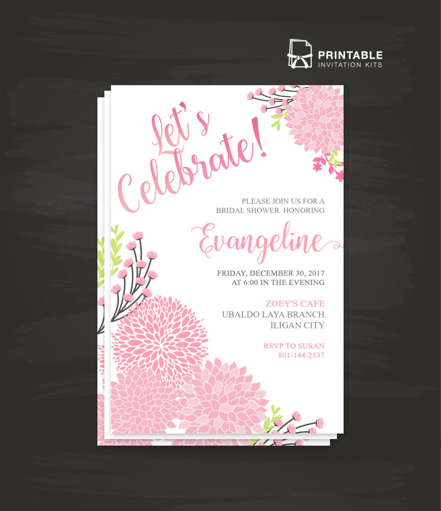 Bridal Shower Let's Celebrate Party Invitation Template