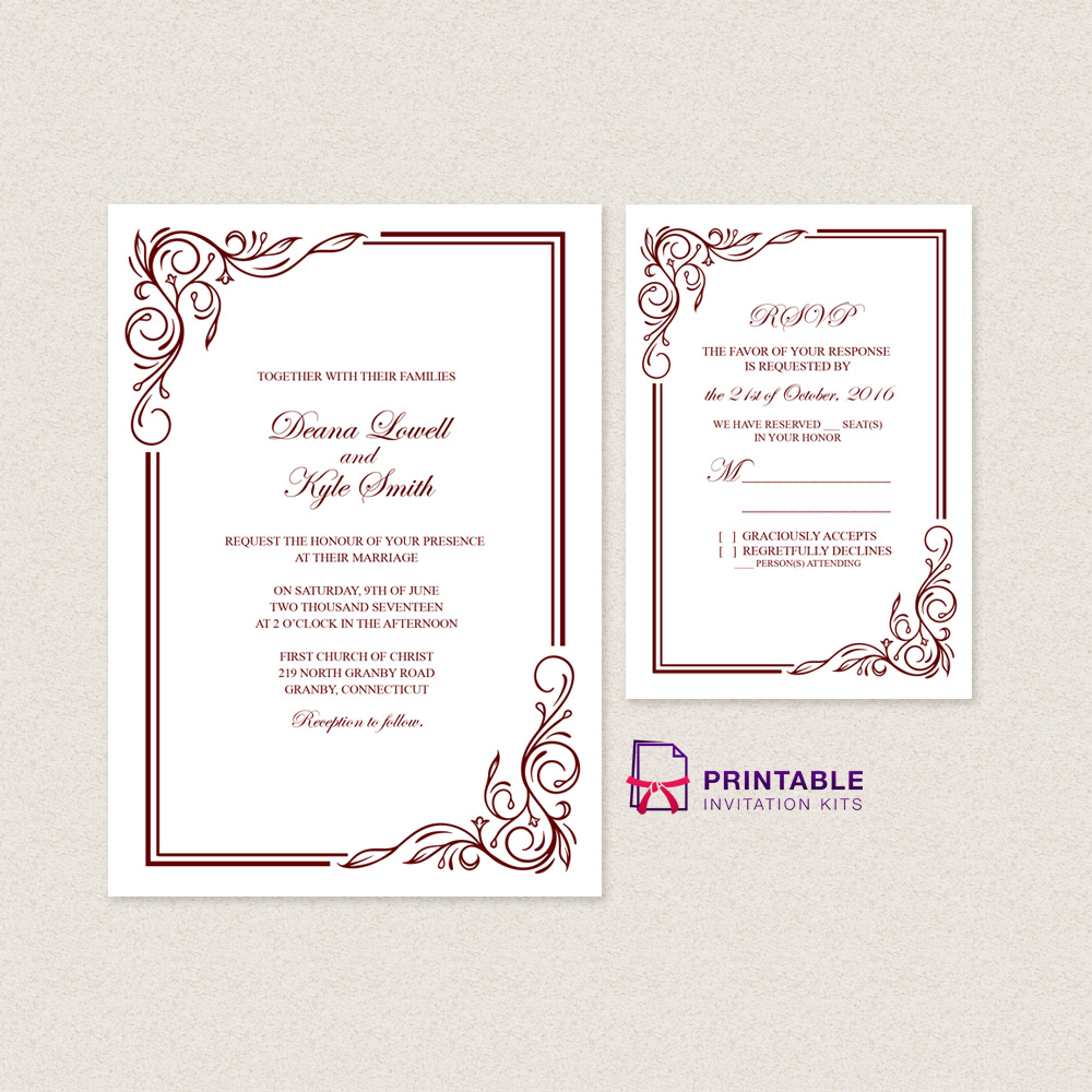 Scroll border 2017 wedding invitation template rsvp wedding scroll border invitation and rsvp stopboris Gallery