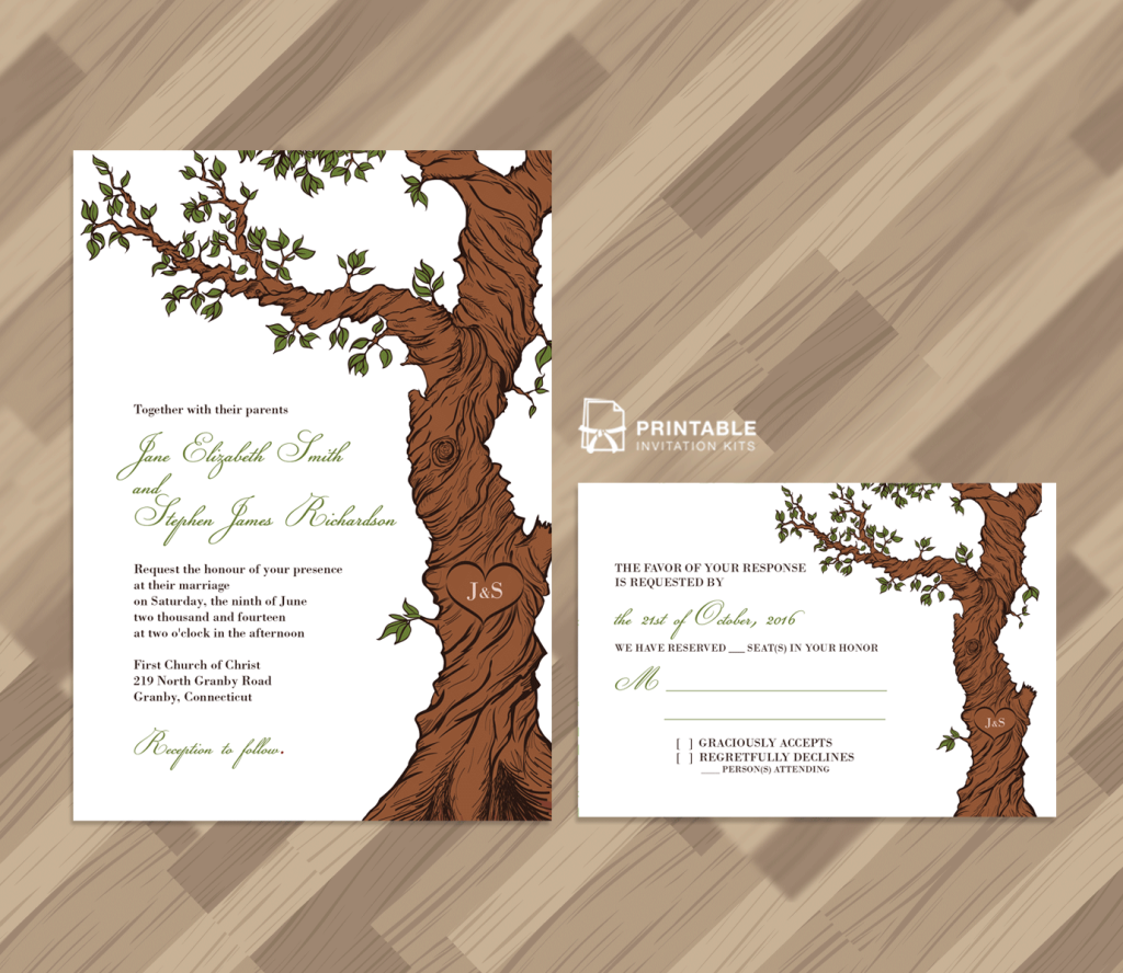 fairytale tree rustic invitation template and rsvp wedding invitation templates printable. Black Bedroom Furniture Sets. Home Design Ideas