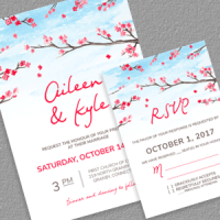 Cherryblossoms Wedding Invitation and RSVP